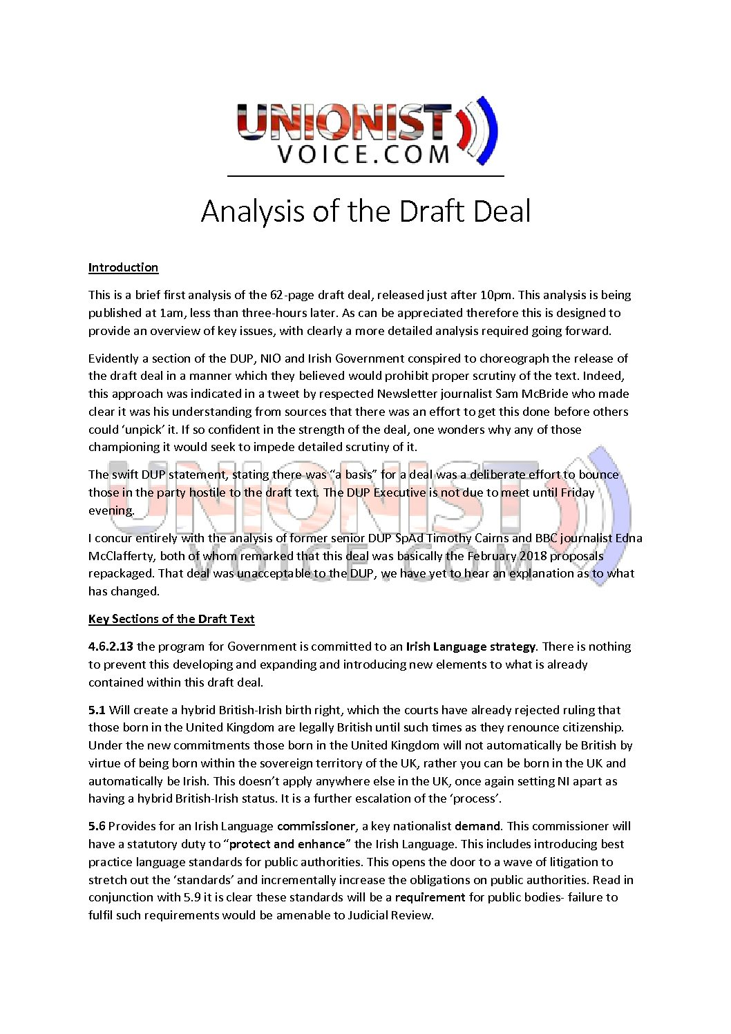 Analysis of Draft Deal
